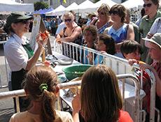 Amelia Saltsman demonstrates at the Santa Monica Farmers' Market