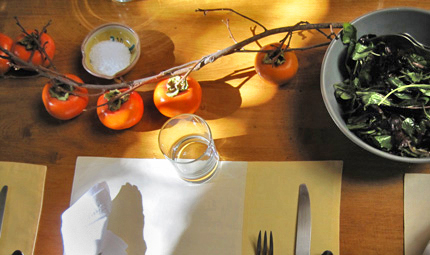 Fall tablescape with persimmons