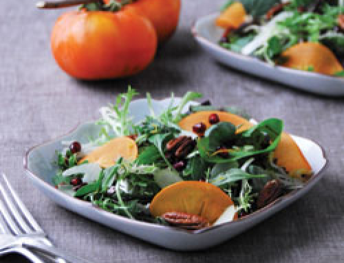 Persimmon, Pomegranate, and Pecan Salad