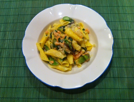 From the Fridge: Garganelli with Smoked Salmon, Asparagus, Garlic Chives, and Parmesan Cream