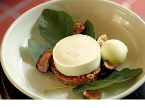 Grilled Fig Leaf Panna Cotta, Photo by Shimon and Tammar Photography