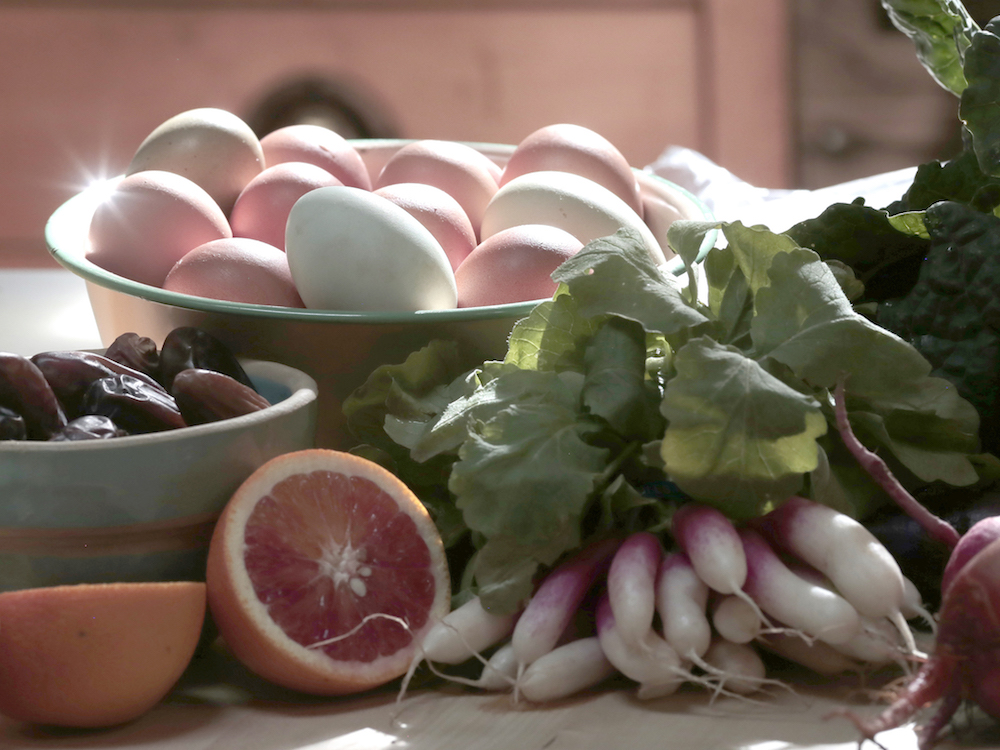 eggs, radishes closeup