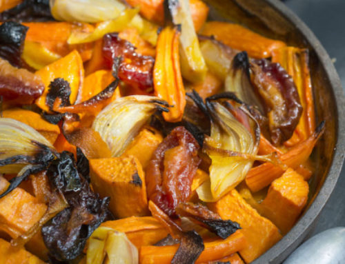 Roasted Carrot and Sweet Potato Tzimmes