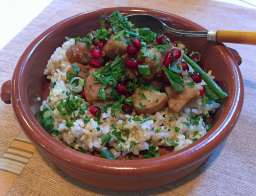 Quince and White Sweet Potato Rice Bowl with Pomegranate
