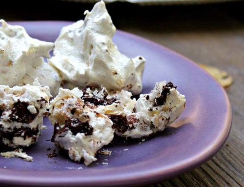 Salted Almond and Chocolate Meringues with Matzah Shards
